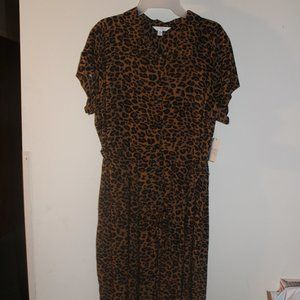 Time and Tru Button Front Midi Dress Leopard Print